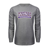Grey Long Sleeve T Shirt-Western Carolina Catamounts