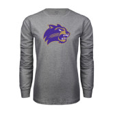 Grey Long Sleeve T Shirt-Catamount Head