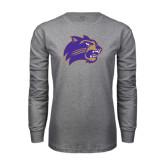 Grey Long Sleeve T Shirt-Catamount Head