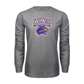 Grey Long Sleeve T Shirt-Western Carolina Catamounts Stacked