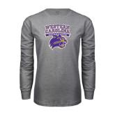 Grey Long Sleeve T Shirt-Western Carolina Catamounts Stacked