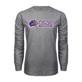 Grey Long Sleeve T Shirt-Western Carolina Catamounts Side Logo