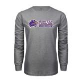Grey Long Sleeve T Shirt-Western Carolina Catamounts Side Logo