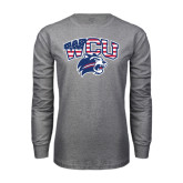 Grey Long Sleeve T Shirt-Stars and Stripes