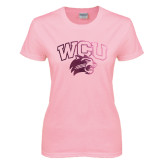 Ladies Pink T Shirt-WCU w/Head Foil