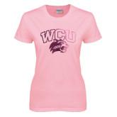 Ladies Pink T-Shirt-WCU w/Head Foil