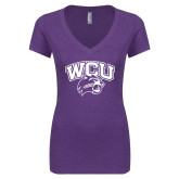 Next Level Ladies Vintage Purple Rush Tri Blend V Neck Tee-WCU w/Head