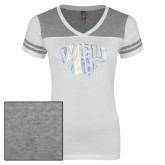 Ladies White/Heathered Nickel Juniors Varsity V Neck Tee-WCU w/Head Foil