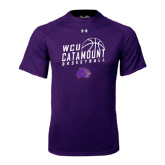 Under Armour Purple Tech Tee-Basketball Stacked Design
