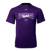 Under Armour Purple Tech Tee-Baseball Crossed Bats Design