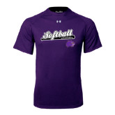 Under Armour Purple Tech Tee-Softball Script w/ Bat Design