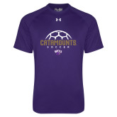 Under Armour Purple Tech Tee-Soccer Half Ball Design