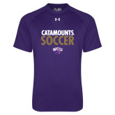 Under Armour Purple Tech Tee-Soccer Stacked