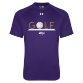 Under Armour Purple Tech Tee-Golf Lines Design