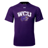 Under Armour Purple Tech Tee-WCU w/Head
