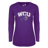 Ladies Syntrel Performance Purple Longsleeve Shirt-WCU w/Head