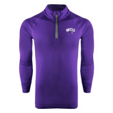 Under Armour Purple Tech 1/4 Zip Performance Shirt-WCU w/Head