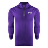 Under Armour Purple Tech 1/4 Zip Performance Shirt-WCU w/Head