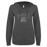 ENZA Ladies Dark Heather V Notch Raw Edge Fleece Hoodie-WCU w Wildcat Head Silver Soft Glitter