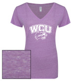 ENZA Ladies Violet Melange V Neck Tee-WCU w/Head