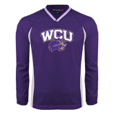 Colorblock V Neck Purple/White Raglan Windshirt-WCU w/Head