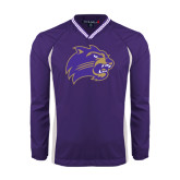 Colorblock V Neck Purple/White Raglan Windshirt-Catamount Head