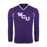 Colorblock V Neck Purple/White Raglan Windshirt-WCU