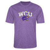 Performance Purple Heather Contender Tee-WCU w/Head
