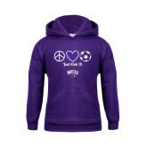 Youth Purple Fleece Hood-Just Kick It Soccer Design