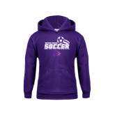 Youth Purple Fleece Hood-Soccer Swoosh Design