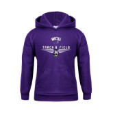 Youth Purple Fleece Hood-Track and Field Shoe Design
