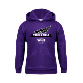Youth Purple Fleece Hoodie-Track and Field Side Shoe Design