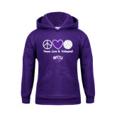 Youth Purple Fleece Hoodie-Peace Love and Volleyball Design