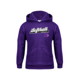 Youth Purple Fleece Hood-Softball Script w/ Bat Design