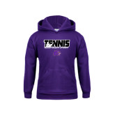 Youth Purple Fleece Hoodie-Tennis Player Design