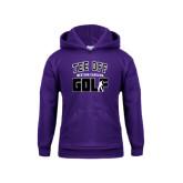 Youth Purple Fleece Hood-Tee Off Golf Design