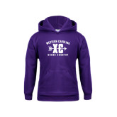 Youth Purple Fleece Hoodie-Cross Country Design
