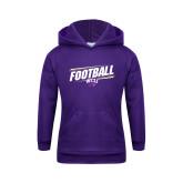 Youth Purple Fleece Hood-Football Fancy Lines