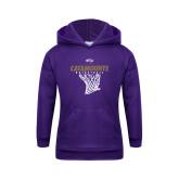 Youth Purple Fleece Hoodie-Basketball Net Design