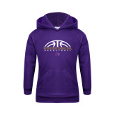 Youth Purple Fleece Hoodie-Basketball Half Ball