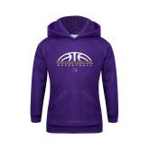 Youth Purple Fleece Hoodie-Basketball Half Ball