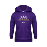 Youth Purple Fleece Hoodie-Soccer Half Ball Design
