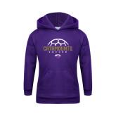 Youth Purple Fleece Hoodie-Soccer Half Ball Design