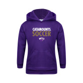 Youth Purple Fleece Hoodie-Soccer Stacked