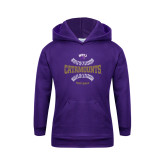 Youth Purple Fleece Hoodie-Softball Seams Design