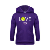 Youth Purple Fleece Hoodie-Love Tennis