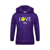 Youth Purple Fleece Hood-Love Tennis