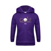 Youth Purple Fleece Hoodie-Golf Flag Design