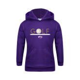 Youth Purple Fleece Hoodie-Golf Lines Design