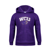 Youth Purple Fleece Hood-WCU w/Head